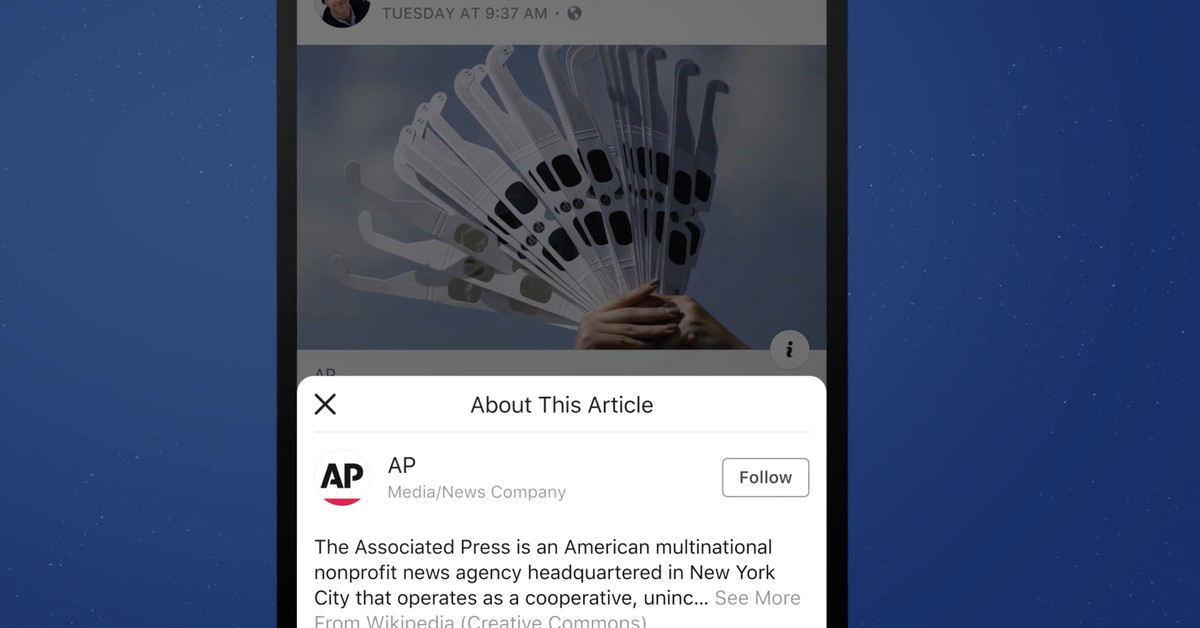 Facebook Tests Explaining Media Sources