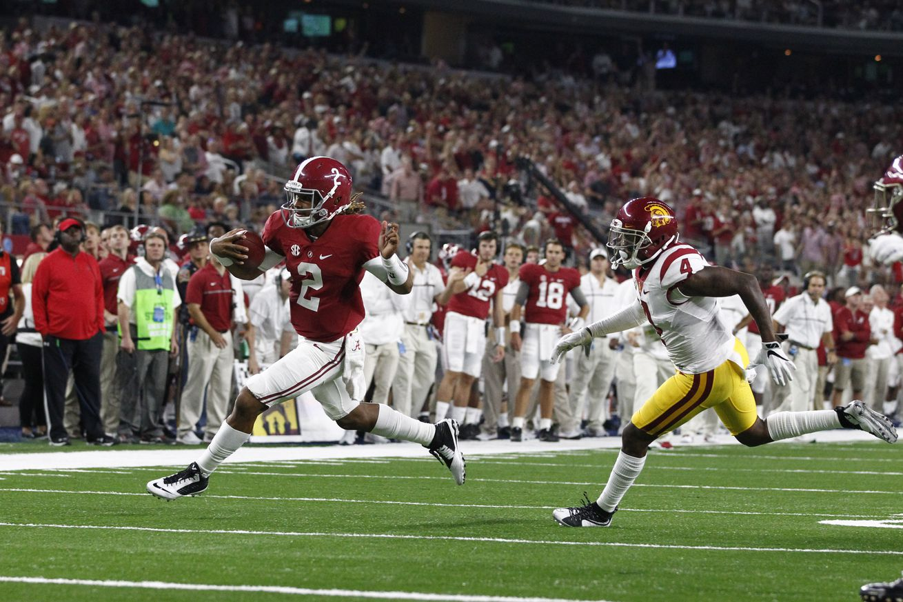 Nick Saban was hardly satisfied after Alabama's historic drubbing of USC