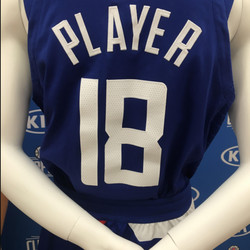 """Back view of the Clippers' new blue """"Icon edition"""" jersey designed by Nike."""