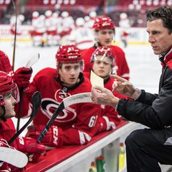 Team Red coach Rod Brind'Amour give a few last minute instructions. July 1, 2017. Carolina Hurricanes Summerfest and Development Camp, PNC Arena, Raleigh, NC. Copyright © 2017 Jamie Kellner. All Rights Reserved.