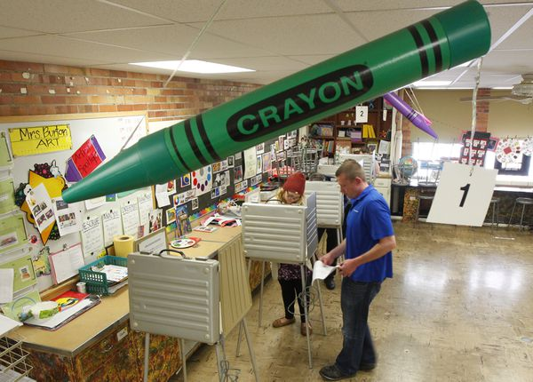 We should all vote under giant crayons.