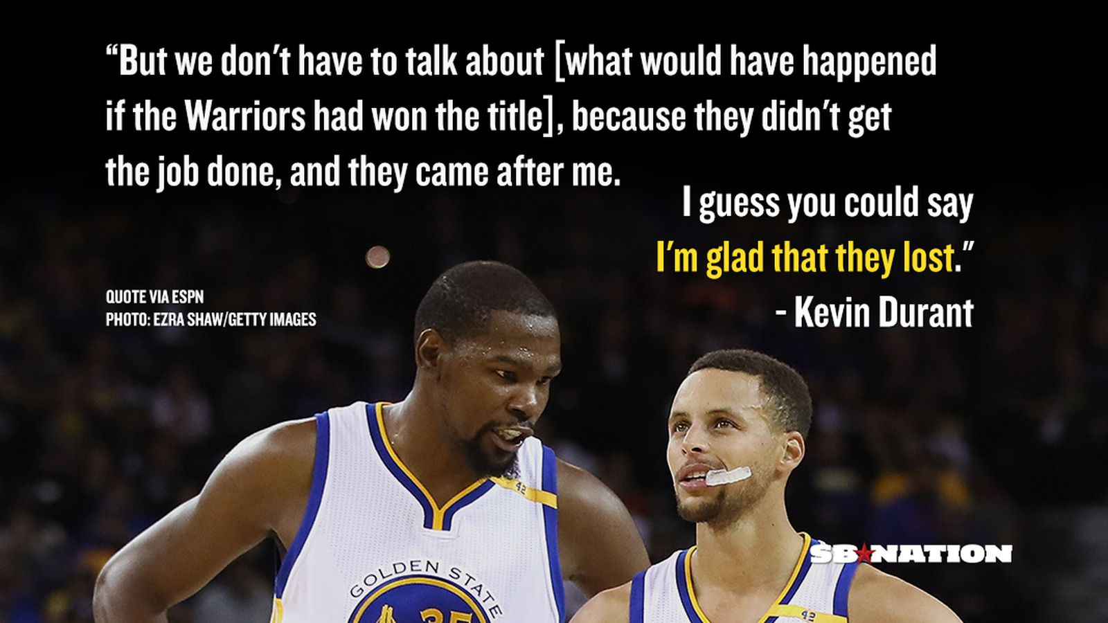 Kevin Durant says he's glad the Warriors blew a 3-1 lead in the NBA Finals