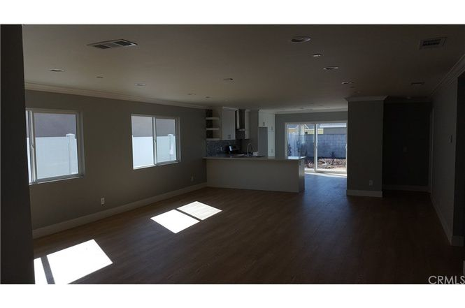 Open living space and kitchen