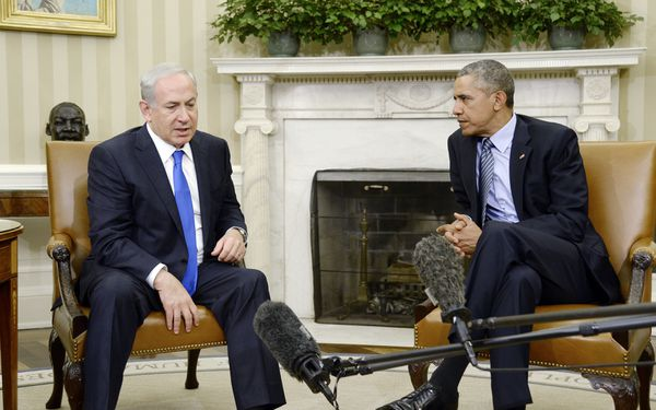 Bibi and Obama hang out with some boom mics.