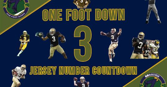 Notre Dame Football Jersey Number Countdown 3 One Foot Down