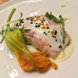 Arctic char with zucchini flower and roe