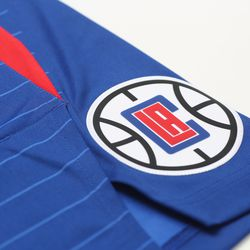 """View of the Clippers logo on the side of the shorts of the Clippers' new blue """"Icon edition"""" jerseys from Nike."""