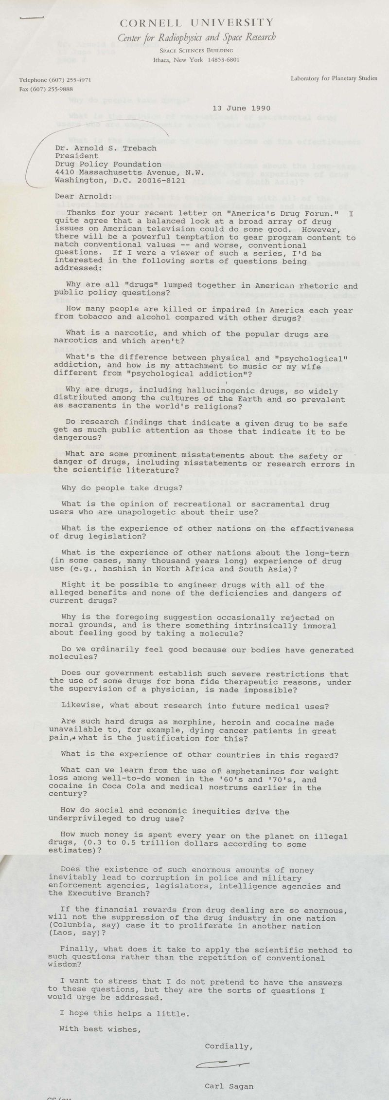 carl sagan s newly revealed letters about the war on drugs vox carl sagan 1990 war on drugs letter