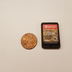 Finally! Something smaller than a Switch cart. A penny is tinier than <em>Breath of the Wild </em>on Switch, but not by much — uh, in terms of the physical card, that is.
