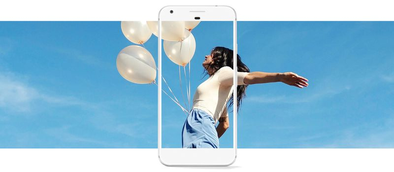 "a woman with her arms spread, holding white balloons, with a blue sky in the background, with a Google Pixel phone superimposed over her, as if it's capturing her in its frame as she cries ""Ermigerrrd, I'm beautiferrr!"""
