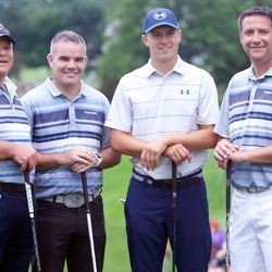 Jordan Spieth and his playing partners in the Travelers Championship Pro-Am.<br>