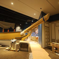 This model ship was built at the Independence Seaport Museum, then taken apart and rebuilt for display at the Museum of the American Revolution. Kids will be able to walk along the ship.
