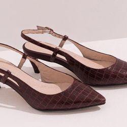 """Front Row Shop <a href=""""http://www.frontrowshop.com/product/frs-pointed-toe-sling-back"""">Croc Grain Slingbacks</a>, $49.50"""
