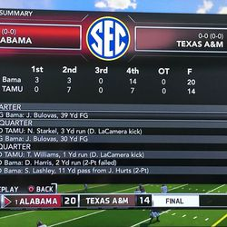 Proof that Saban went for two on the untimed down, making him the biggest jerk of all time.