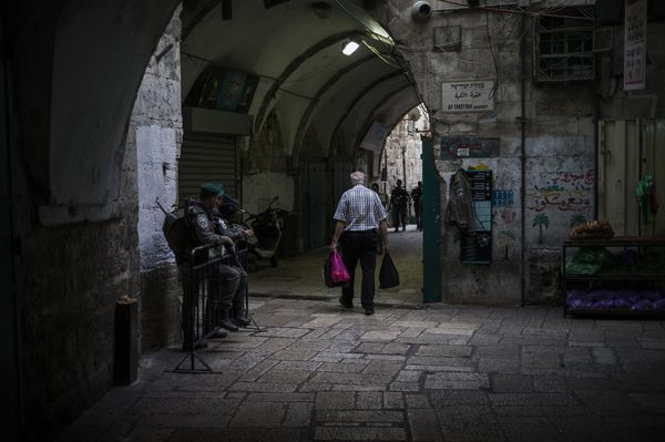 Israeli security on the street of the old city