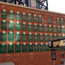 Wall with plaques for Orioles Hall of Fame