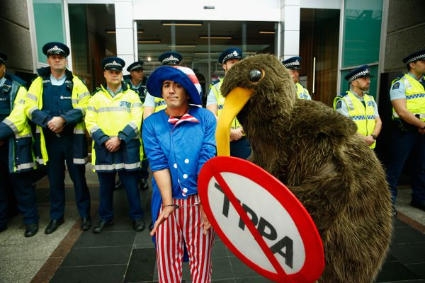 Outstandingly costumed anti-TPP protesters in Auckland, NZ