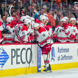 The Hurricanes embracing Bryan Bickell after his last NHL game before retirement