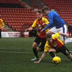 Max Ashmore tries to find a way through the Partick defence<br>