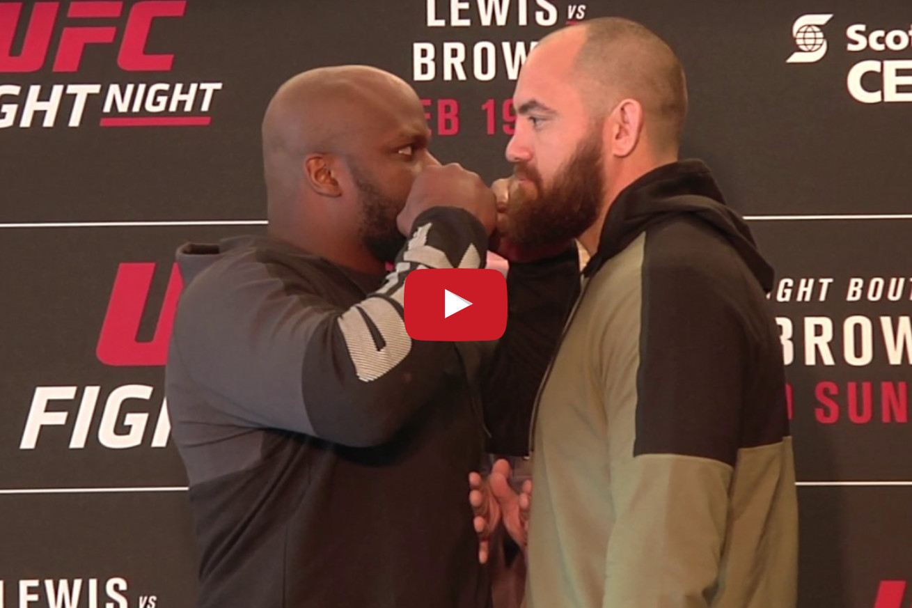 community news, UFC Fight Night 105 staredowns: Lewis Browne, Hendricks Lombard face off at UFC 'Halifax' media day (Video)