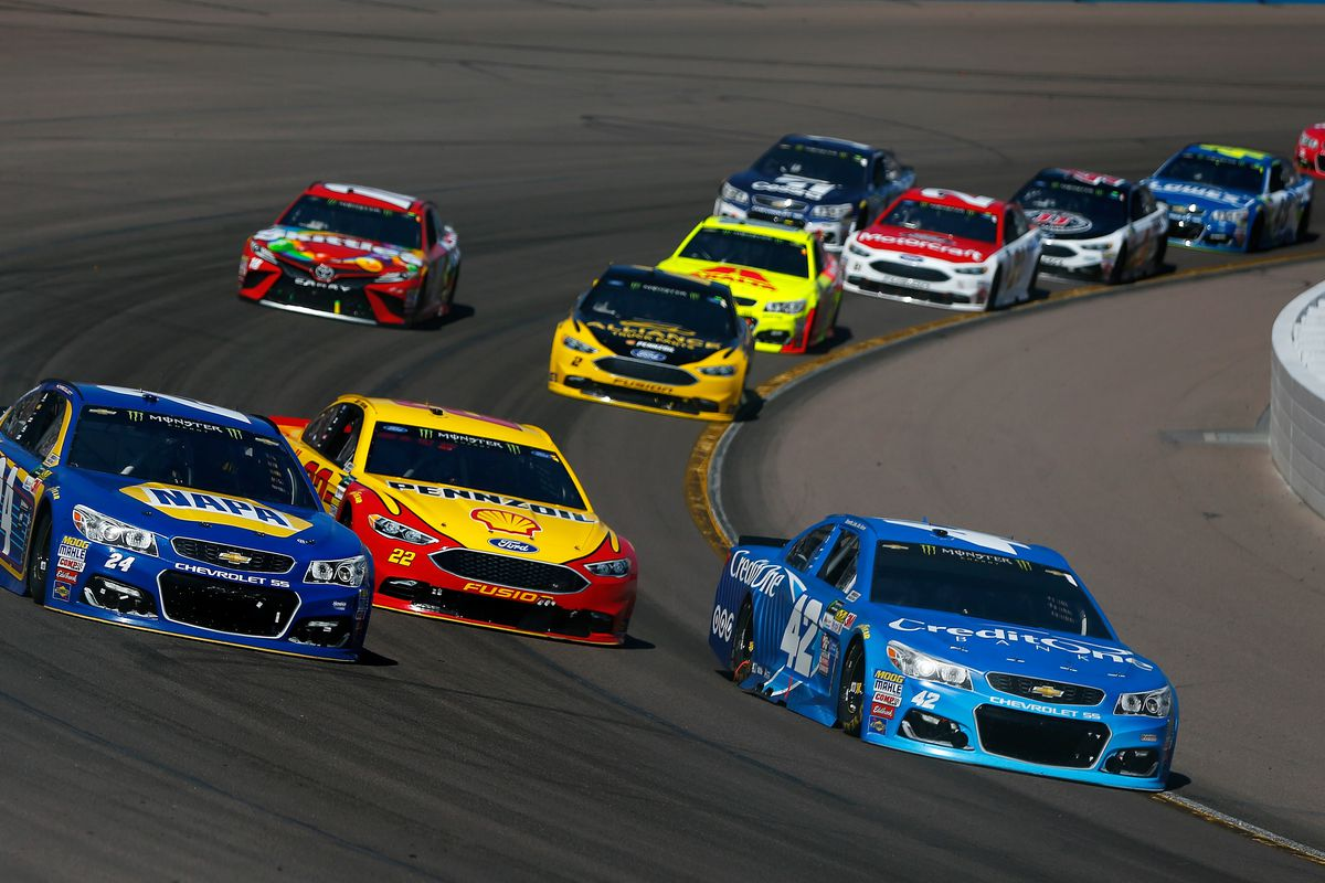 Kyle Larson Joey Logano and Chase Elliott race for the lead at Phoenix International Raceway in March