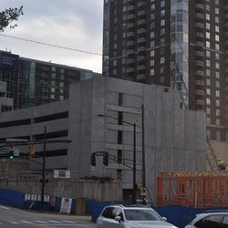 The parking deck, which will be embedded in the southern building near Williams Street.
