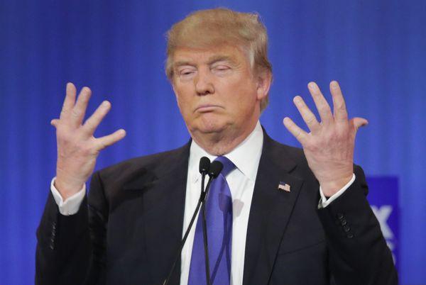 Donald's hands, Donald's hands, everybody's wondering what's in Donald's hands.
