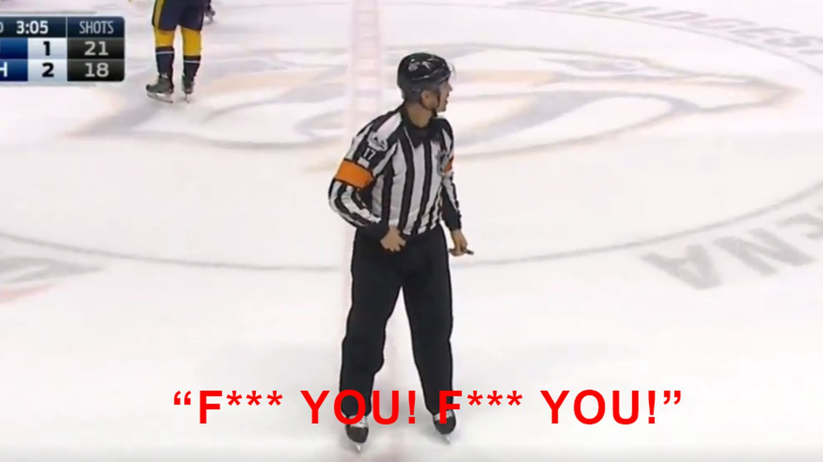 NHL referee delays announcing penalty to yell 'F*** YOU! F*** YOU!' at someone