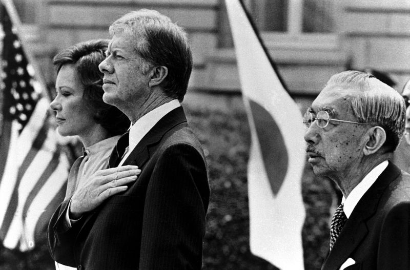 Emperor Hirohito, who was never prosecuted for his role in Japanese wartime abuses under his reign, with US President Jimmy Carter in 1979 (Kurita KAKU/Gamma-Rapho via Getty)