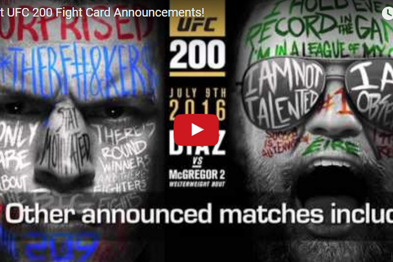 Video: Latest UFC 200 fight card announcements, news round up for Diaz vs McGregor 2