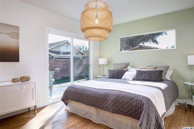 Bedroom with glass sliding door