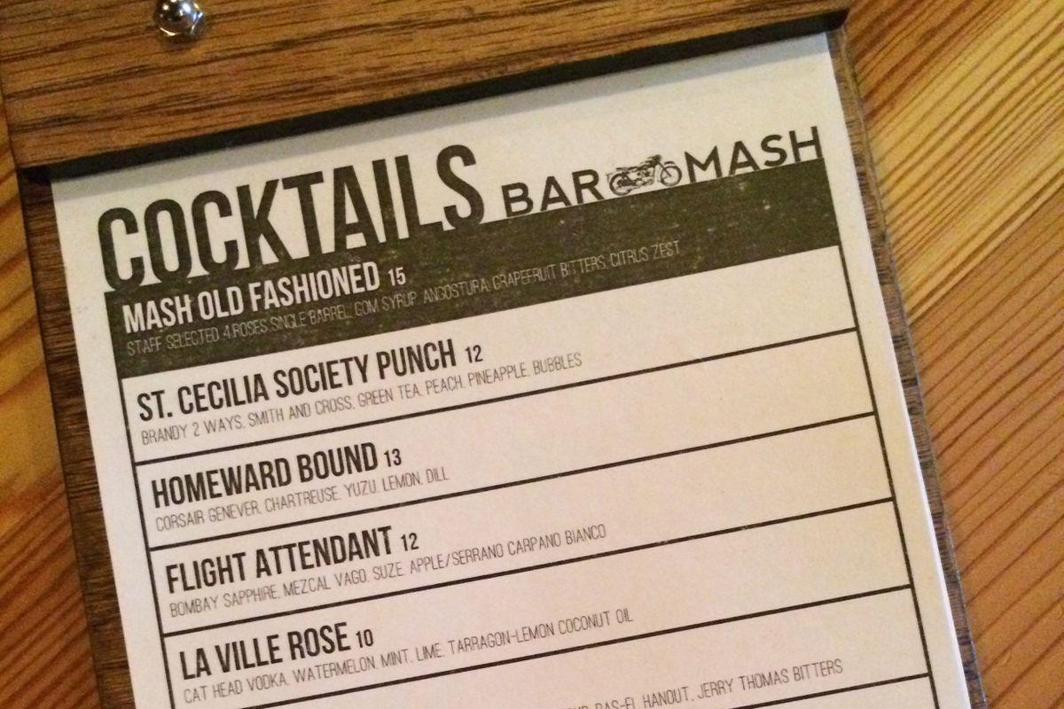 Upcoming Mash Cocktail Menu Includes St. Cecilia Society ...
