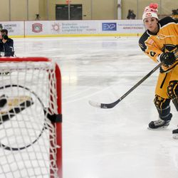 Boston Pride forward Hilary Knight takes a target out during the NWHL All-Star Game.