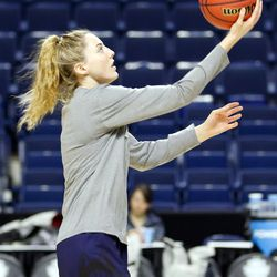 UConn's Katie Lou Samuelson goes in for a layup during a drill at their Sweet 16 practice.<br>