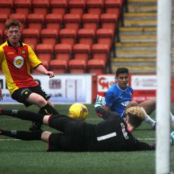 Amin Abaradan is denied by the 'keeper in Rangers U20s 3-2 win over Partick Thistle<br>