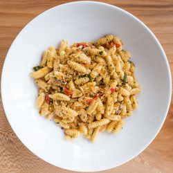 Cavatelli pasta with nduja, chili, and clams
