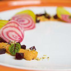 Organic beet salad, turmeric cumin hummus, toasted pistachios, aged sherry vinaigrette