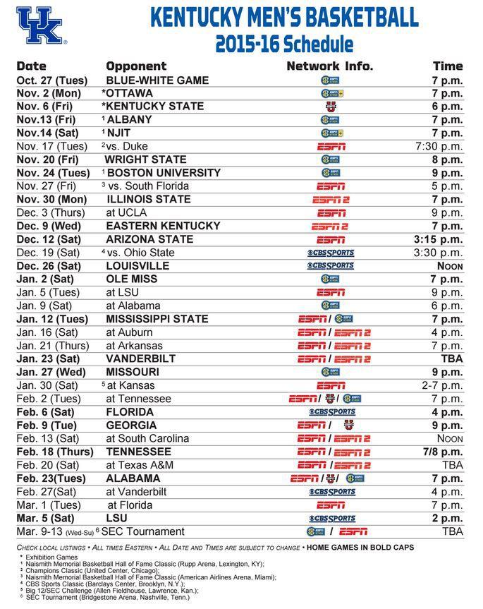 Kentucky Wildcats Basketball  Full 2015-16 Schedule  Channels  Dates