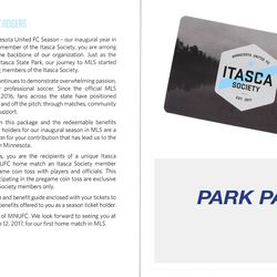 Inside, a note from club president Nick Rogers, your personal Itasca Society membership card, and a park pass good for one free entry to any Minnesota public park (edited out here).
