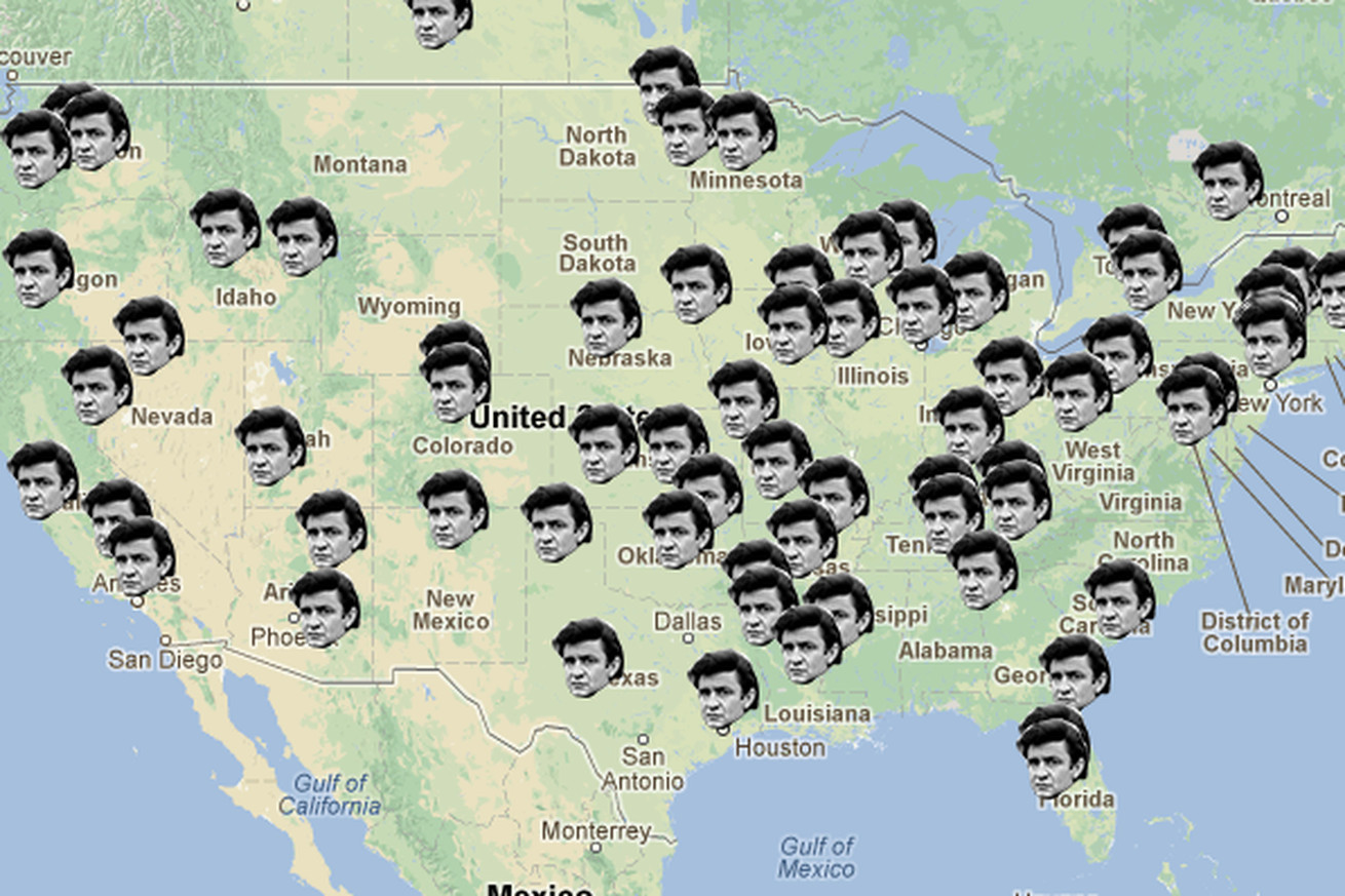 Music Hack Day project maps out lyrics to Johnny Cashs Ive Been – Where I Ve Been Travel Map