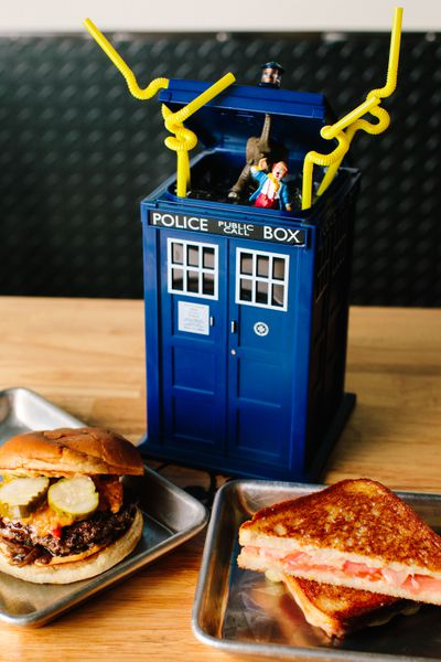A cocktail at A4cade, served in a TARDIS