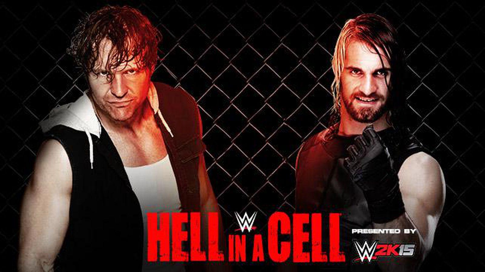 Znalezione obrazy dla zapytania Hell in a Cell 2014 Seth Rollins (w/Jamie Noble & Joey Mercury) vs. Dean Ambrose