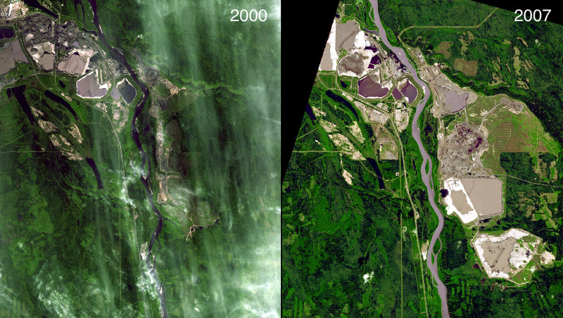 """(<a href=""""http://climate.nasa.gov/state_of_flux#Mininggrowth_Canada.jpg"""">NASA, Images of Change</a>)"""