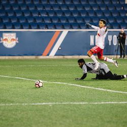 In the second half, with his team down a goal, Lewis got one-on-one with Harrisburg 'keeper Brandon Miller...
