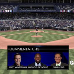 The new MLB Network broadcast booth for <em>MLB 17</em>. (Presumably, Sony San Diego will correct the spelling of Reynolds' first name before the game launches.)