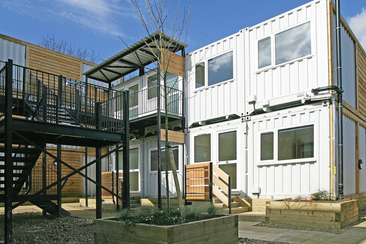 Shipping containers transform into emergency housing for the homeless in london curbed - Shipping container homes chicago ...