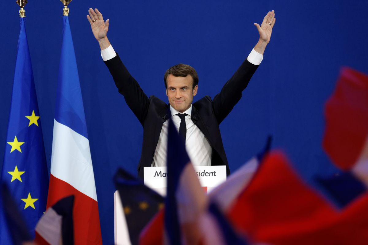 Image result for happy Emmanuel Macron vox