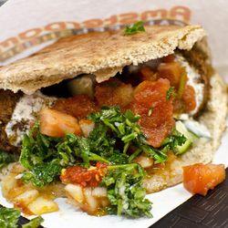 A pita full of falafel at Amsterdam Falafelshop, now closed in Kenmore Square.