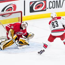 Jeremy Helvig stops David Cotton in the shootout round. July 1, 2017. Carolina Hurricanes Summerfest and Development Camp, PNC Arena, Raleigh, NC. Copyright © 2017 Jamie Kellner. All Rights Reserved.