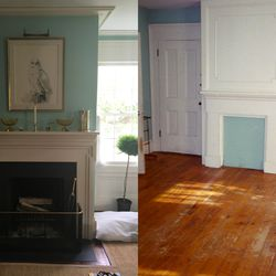 The library fireplace, before and after renovation.